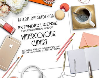 Commercial license for the WATERCOLOR CLIP ART section only. For a single product. No credit required.