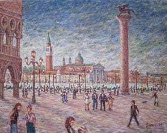 """St. Mark's Square, original oil painting on canvas by Surin, 30"""" x 40"""". Free shipping."""