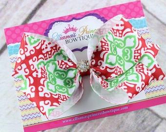 Baby Bows, Toddler Bows, Girls Hair Bows, Hair Clip, Christmas Hair Bow Headband, Holiday Hair Bow Headband, Green Red Hair Bow, 5 Inch Bow