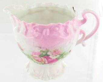 """Antique Rs Prussia Pink Roses~ Ribbon & Bows Mold 3.5"""" H Creamer Ornate Pretty"""
