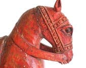 Red Horse Wooden Horse Animal Figure Carved Large Horse