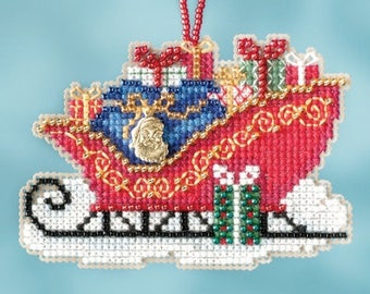 Traditional Sleigh Ornament - Christmas Cross Stitch Kit - Mill Hill Sleigh Christmas Ornament beaded counted cross stitch charm