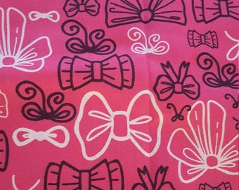 Minnie Mouse Bow Pink Fabric