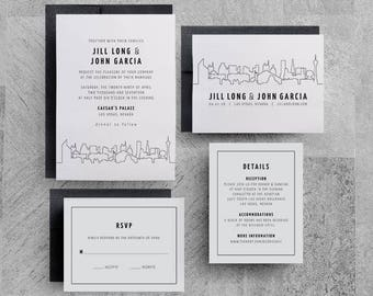 Las Vegas Wedding Invitations, Las Vegas Save the Dates, Skyline, City, Downtown, Buildings, San Francisco, New York, Seattle, Washington DC