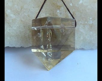 New,Yellow Quartz Gemstone  Faceted Pendant Bead, 31x28x23mm,27.1g(s0260)