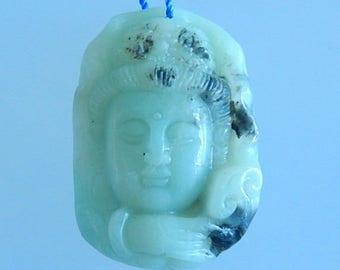 Carved,Buddha head,Amazonite,Fashion gemstone pendant bead,39x27x11mm,17.1g