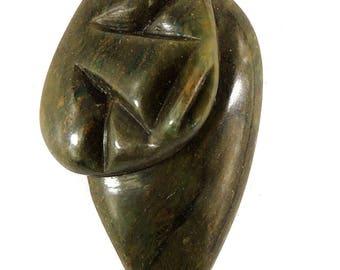 Shona Pendant Verdite Abstract Face Zimbabwe Africa 110616