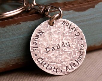 My Kids Fathers Day key chain / Hand Stamped Sterling Silver Daddy Key Chain / Personalized keychain / daddy keychain