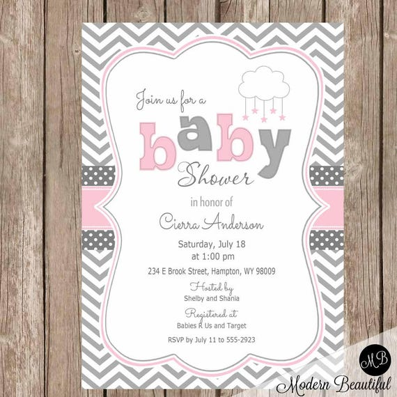 Star baby shower invite pink and gray cloud baby shower invitation il570xn filmwisefo