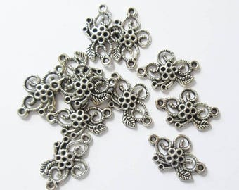 On Sale Silver Tone Flower Connectors Charms Jewelry Supply Necklace Maker