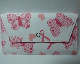 Breast Cancer Awareness Fabric Wallet (pink ribbon butterfly)