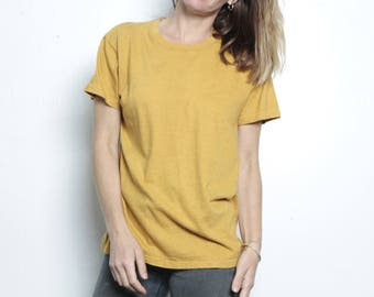 vintage simple GOLD yellow vintage mid 90s normcore oversize FADED t-shirt top