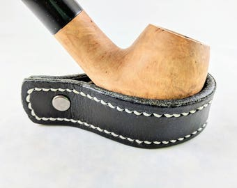 Black Leather Pipe Rest With Stitching