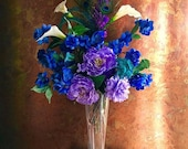 CUSTOM ORDER for VANESHA Two 2' Custom Wedding Arrangements Peacock Colors