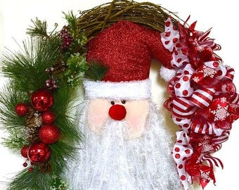 "CHRISTMAS IN JULY Santa Christmas Holiday Wreath Primitive Rustic Country Grapevine Extra Large 30"" Indoor Outdoor"