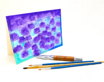 Original Abstract Watercolor Art, Unusual Purple Green Blue Wall Art, Unique Tabletop Abstract Art Card, Unusual Greeting Card