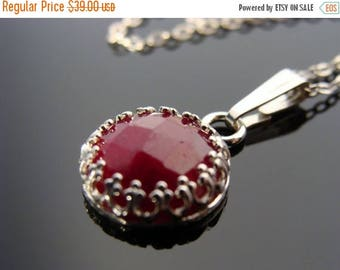 Faceted Genuine Ruby Bezel Set Argentium Silver Pendant