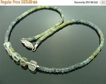Moss Aquamarine Prasiolite Rutilated Quartz Sterling Silver Necklace