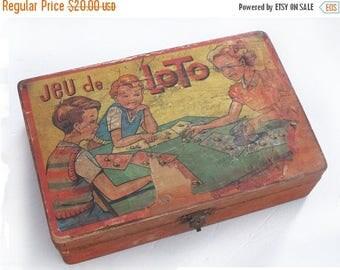 "Vintage 1950  French wood case, french board game box ""jeu de loto'"