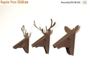 set of 3 faux deer head, faux taxidermy , greeting card, brown