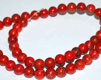 Half Strand 8mm Dark Orange Magnesite Howlite Gemstone Beads  - 25 beads
