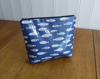 Fish Print Gloss Finish Oilcloth Large Cosmetic Toiletry Bag