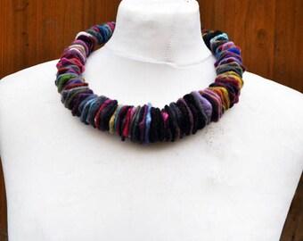 Felted necklace, fibre art, gift, felted slices