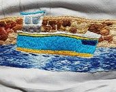 Hand-embroidered fishing boat in harbour, organic 100% cotton t-shirt