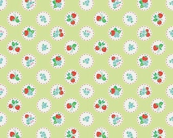 Strawberry Biscuit Scallop In Green By Elea Lutz For Penny Lane Fabrics 1 Yard