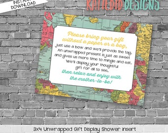 display shower insert   unwrapped gift enclosure card   oh the places baby shower   World map   rustic shower   Travel   1294 Katiedid Cards