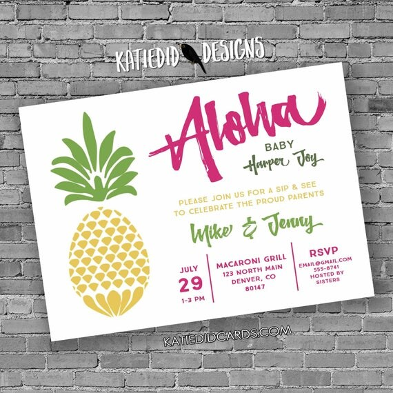 Pineapple Aloha Invitation Baby shower tropical sip and see sprinkle reveal neutral birthday bridal retirement bachelorette wedding 1383