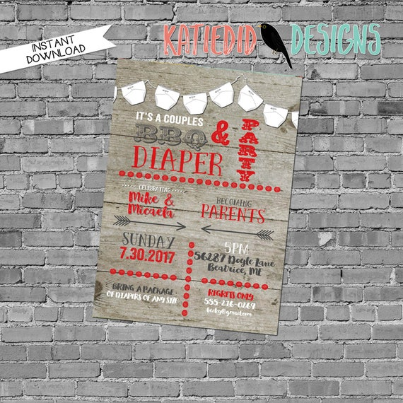 BBQ Diaper Barn wood Barnwood Bridal shower invitation lights sting lights reclaimed neutral gender reveal bridal coed 12129 rustic