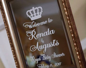 Royal Prince/Princess Welcome Mirror Decal/Welcome Sign/Baby Shower/Sweet Sixteen/First Birthday/Crown Decal