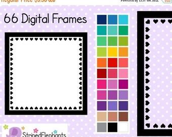 40% OFF SALE Heart Square Digital Frames 1 - Clipart Frames - Instant Download - Commercial Use