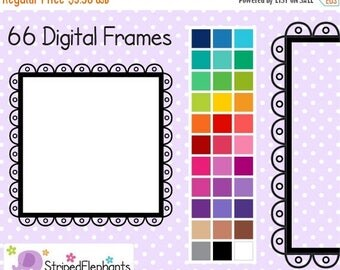 40% OFF SALE Cutout Scalloped Square Digital Frames 3 - Clipart Frames - Instant Download - Commercial Use