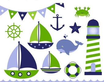 40% OFF SALE Nautical Clip Art - Navy and Green, Sail Boat Clipart, Sea Side Clipart, Sail Boat Clip Art, Baby Boy, Commercial Use