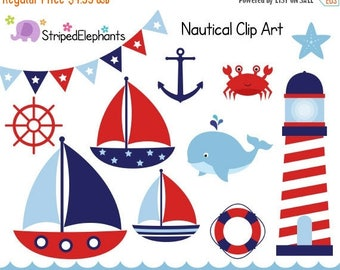 40% OFF SALE Nautical Clip Art - Sail Boat Clipart - Red and Navy - Digital Clipart - Instant Download - Commercial Use
