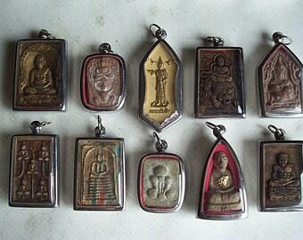 10 Thai Buddhist Buddha Clay Amulet Medallions Pendants Thai Amulet
