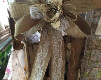 2 x hessian bows Pew ends chair backs natural lace paper flowers music decorations weddings dressing tie backs table rustic barn country pos