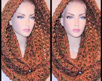 Autumn Scarf, Fall Scarf, Brown Crochet Infinity Scarf, Fall Crochet Infinity Scarf, Oversized Scarf, Fall Colors Scarf,Brown Chunky Scarf