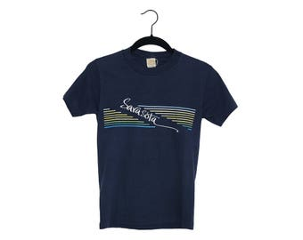 Vintage 70's Sarasota Florida Super Navy Blue Tourist Tee, Made in USA - Small