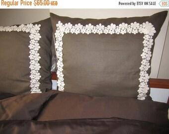 Sale Brown linen euro sham pillows 26 x 26 inch  daisy floral cotton bobbin lace trimmed - set of 2 pcs - euro sham shabby chic bedding
