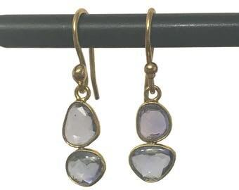 18k Rosecut Tanzanite Earrings