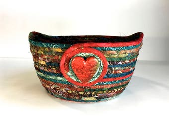 Large Coiled Rope Basket - Holiday Clothesline Bowl - Red Green Organizer - Quilted Fiber Art - Christmas Decor - Handmade Fabric Bowl Quilt