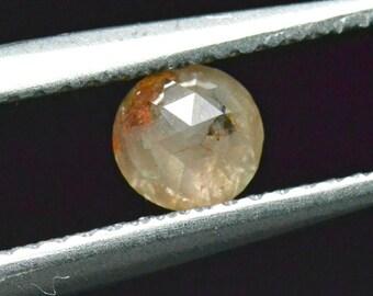 0.52ct 4.8mm round rose cut diamond cayenne orange 4.8mm by 2.6mm