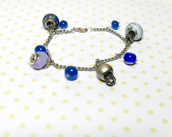 Layering Bracelet, turkish Inspired, blue beads, silver tone, Hand Made in The USA, Item No. L164