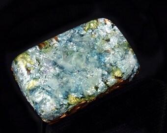 Orgone Positive Energy Generator with Fluorite, Arkansas Crystals, Phenacite, Petalite, Rhodizite, Selenite, Tourmaline, Elite Shungite (d20