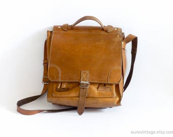 Vintage Satchel Brown Leather Bag Briefcase Brown Large Messenger Bag 70s