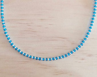 Short Aqua and Silver Necklace - Free Shipping Worldwide
