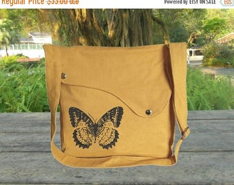 On Sale 20% off Yellow canvas shoulder bag, messenger bag, crossbody bag, travel bag with butterfuly printed, personalized screen print bag